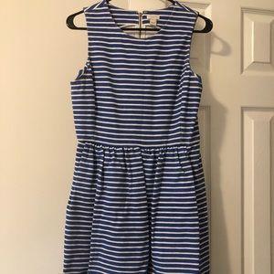 J. Crew Factory Blue Striped Daybreak Dress